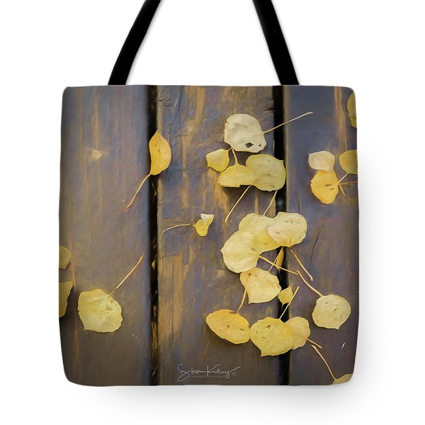 Leaves On Planks Tote Bag