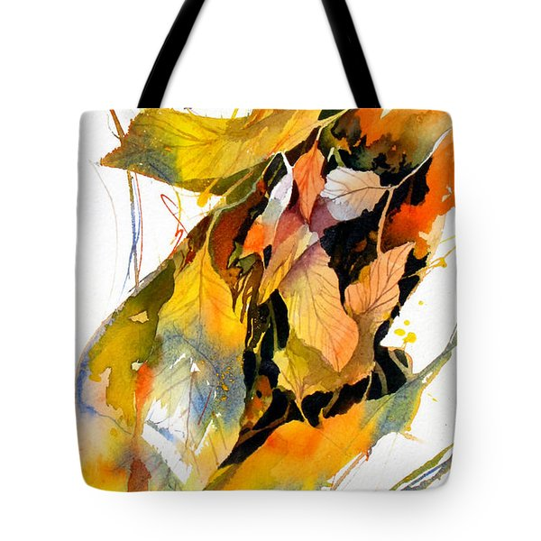 Tote Bag featuring the painting Leaves by Rae Andrews