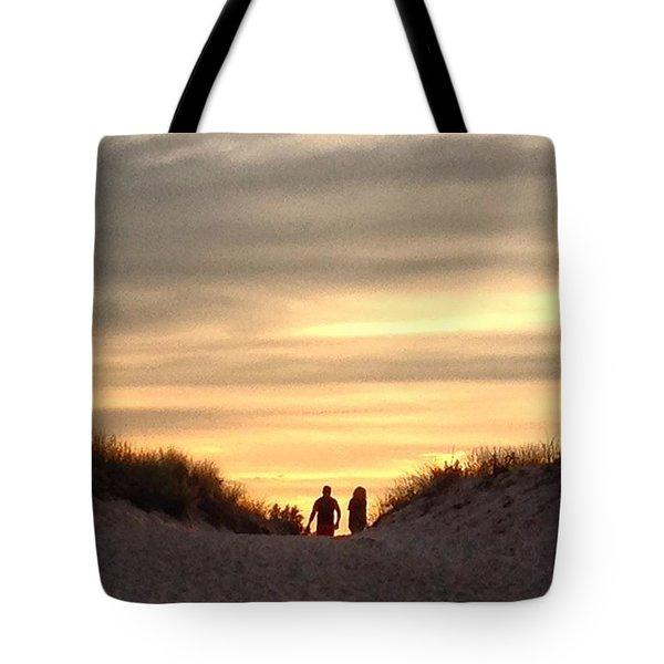 Leaving At Sunset Tote Bag