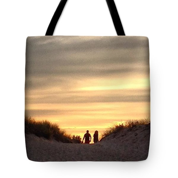 Leaving At Sunset Tote Bag