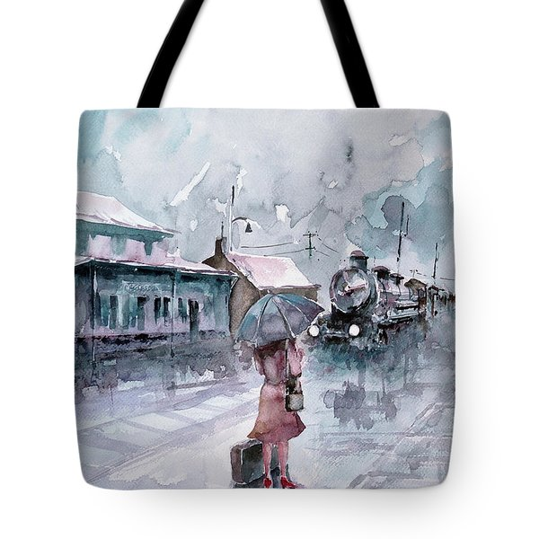 Tote Bag featuring the painting Leaving... by Faruk Koksal