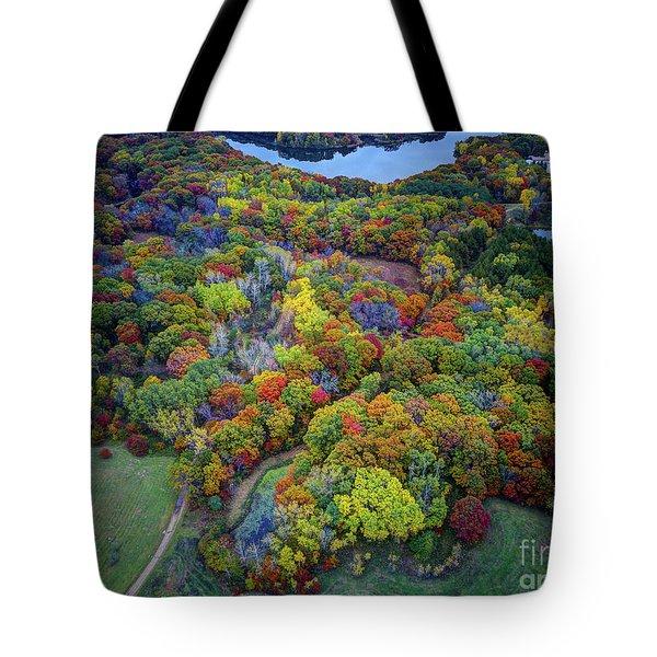 Lebanon Hills Park Eagan Mn Autumn II By Drone Tote Bag