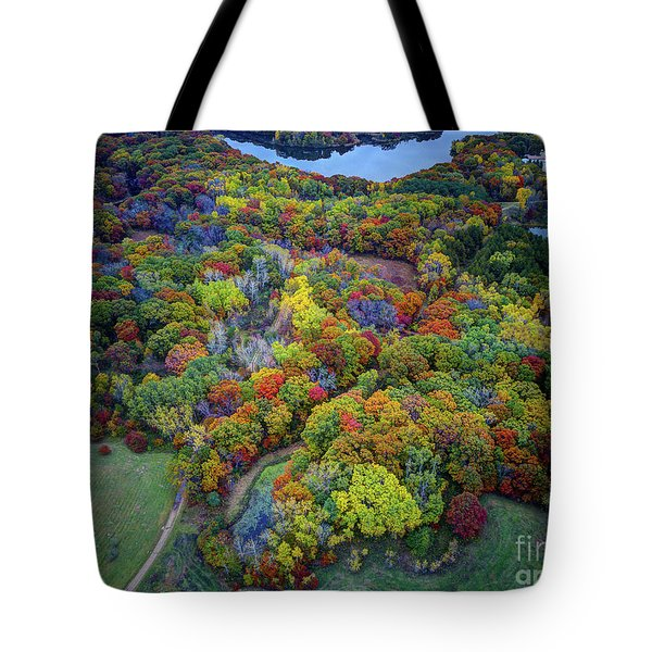 Lebanon Hills Park Eagan Mn Autumn II By Drone Tote Bag