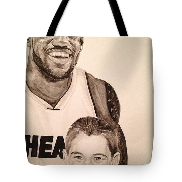 Tote Bag featuring the painting Lebron And Carter by Tamir Barkan