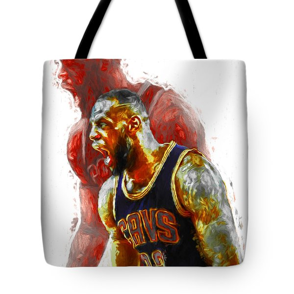 Lebron James 23 1 Cleveland Cavs Digital Painting Tote Bag by David Haskett