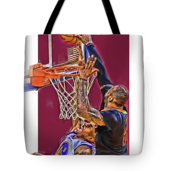 Lebron James Cleveland Cavaliers Oil Art Tote Bag by Joe Hamilton