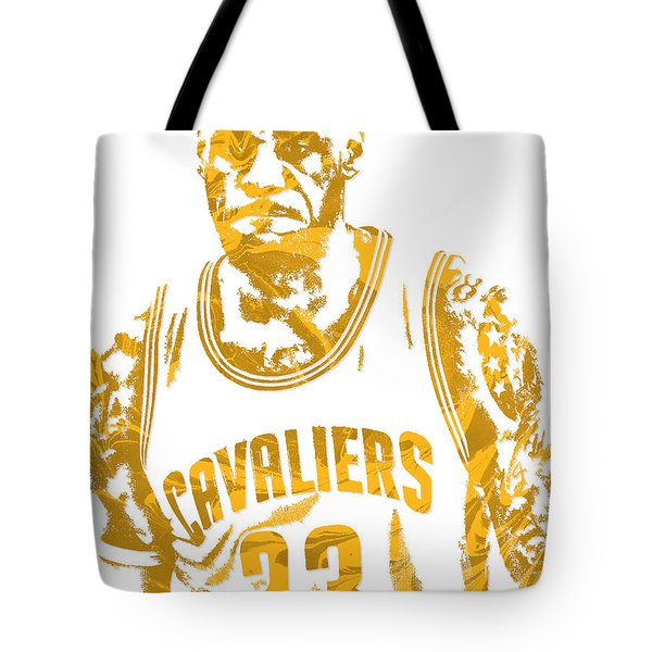 Lebron James Cleveland Cavaliers Pixel Art 10 Tote Bag by Joe Hamilton
