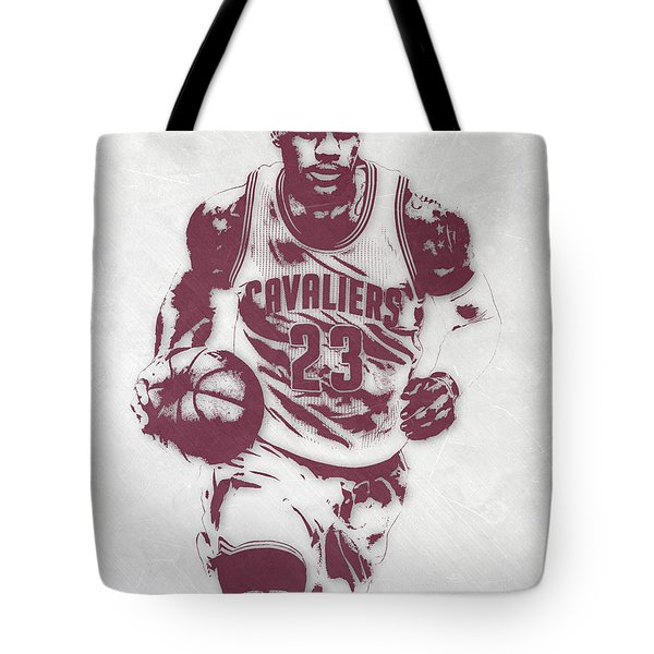 Lebron James Cleveland Cavaliers Pixel Art 4 Tote Bag by Joe Hamilton