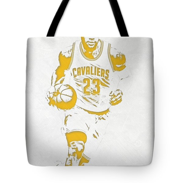 Lebron James Cleveland Cavaliers Pixel Art 5 Tote Bag by Joe Hamilton