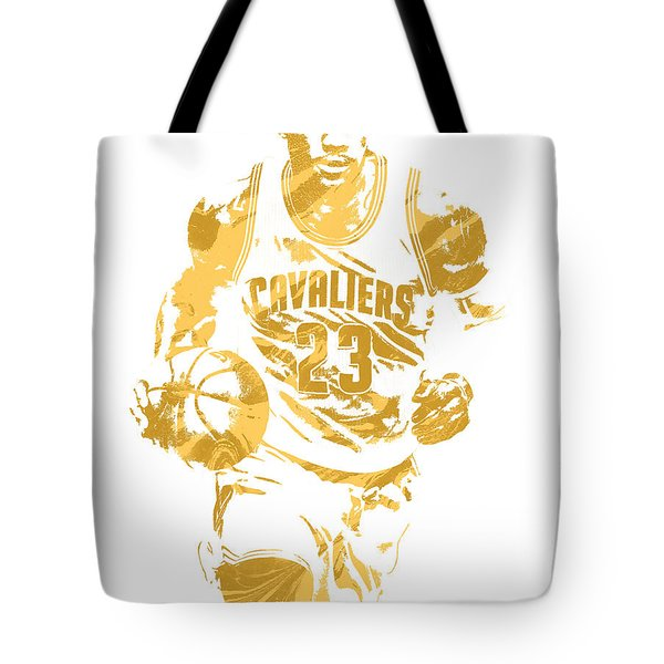 Lebron James Cleveland Cavaliers Pixel Art 7 Tote Bag by Joe Hamilton