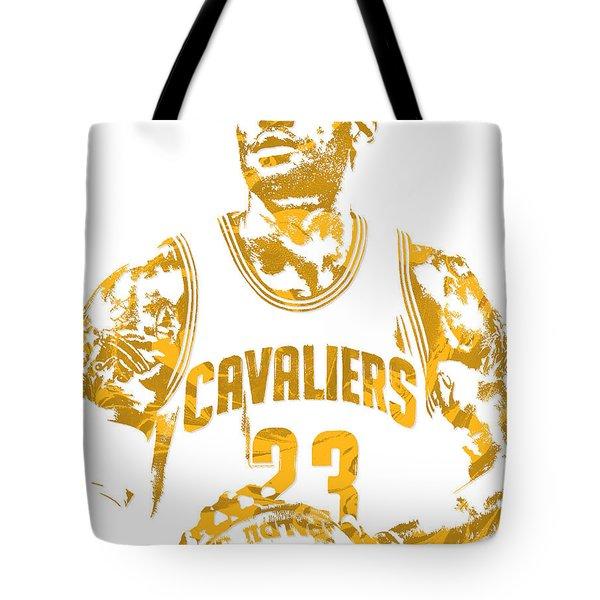 Lebron James Cleveland Cavaliers Pixel Art 8 Tote Bag by Joe Hamilton