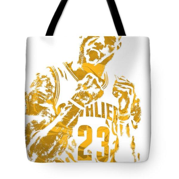 Lebron James Cleveland Cavaliers Pixel Art 9 Tote Bag by Joe Hamilton