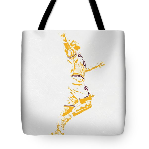 Lebron James Cleveland Cavaliers Pixel Art Tote Bag by Joe Hamilton