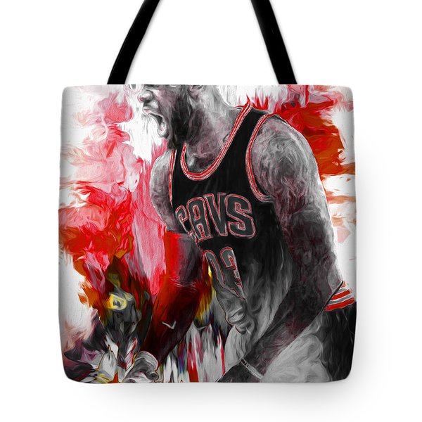Lebron James Cleveland Cavs Digital Painting Tote Bag