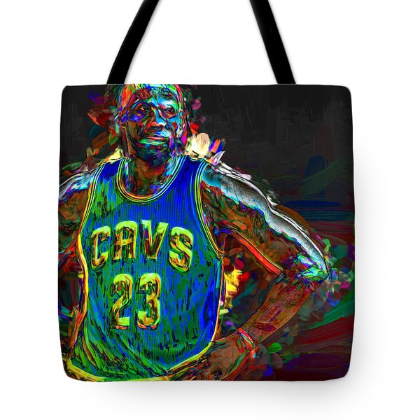 Lebron James Painted Tote Bag by David Haskett