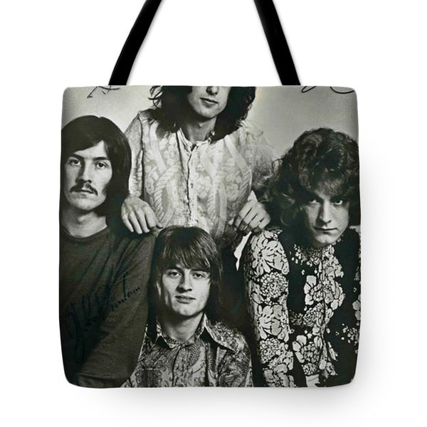 Led Zeppelin Band Autographs Tote Bag