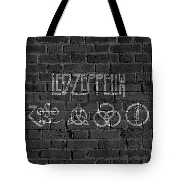 Led Zeppelin Brick Wall Tote Bag