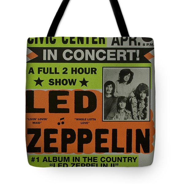 Led Zeppelin Live In Concert At The Baltimore Civic Center Poster Tote Bag by R Muirhead Art