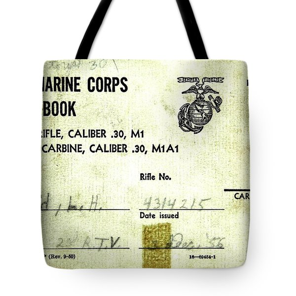 Tote Bag featuring the drawing Lee Harvey Oswald 1956 U S Marine Corps Rifle Range Shooting Score Book by Peter Gumaer Ogden Collection