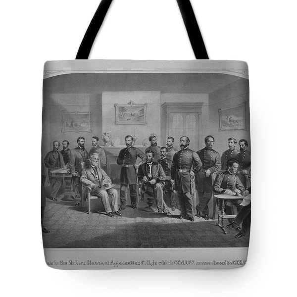 Lee Surrendering To Grant At Appomattox Tote Bag