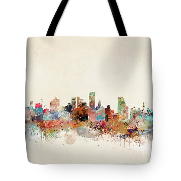 Tote Bag featuring the painting Leeds City Skyline by Bri B