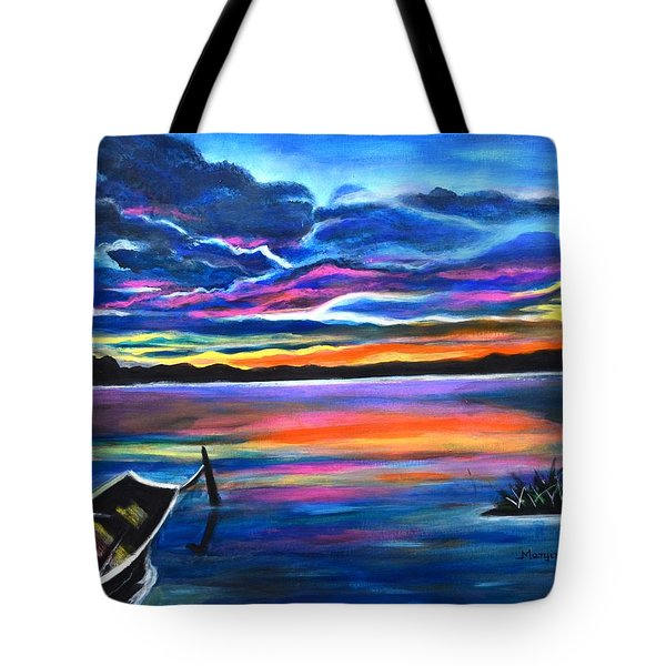 Left Alone A Seascape Boat Painting At Sunset  Tote Bag