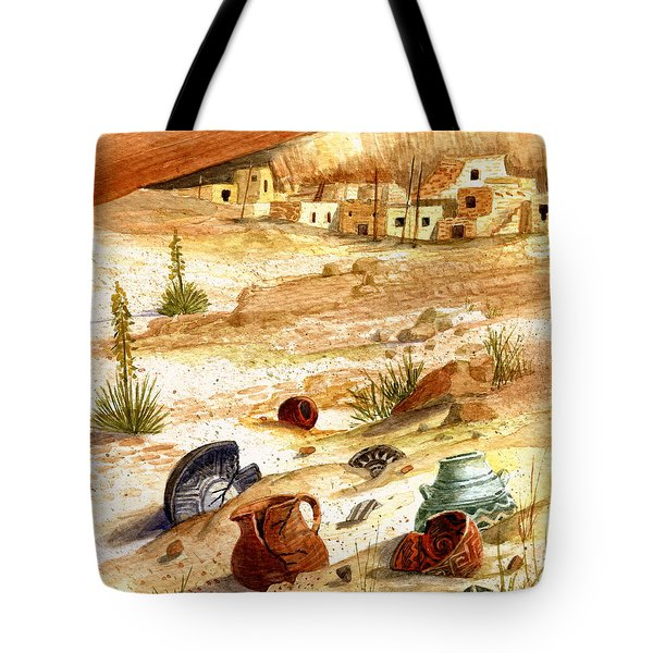 Tote Bag featuring the painting Left Behind - Indian Pottery by Marilyn Smith