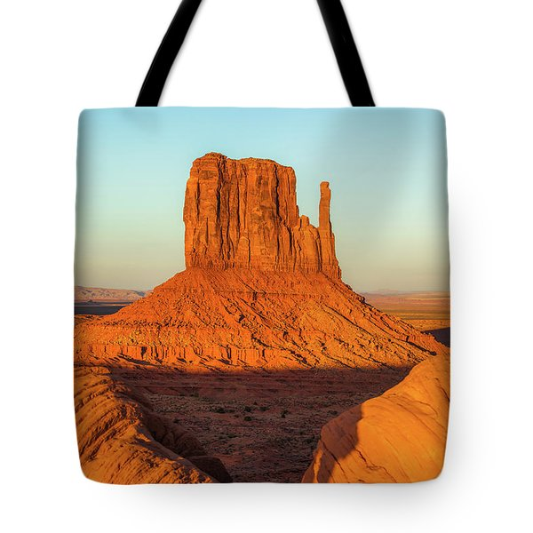 Left Mitten Sunset - Monument Valley Tote Bag