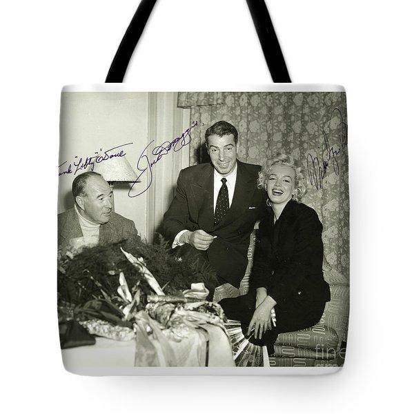 Tote Bag featuring the photograph Lefty O Doul Joe Dimaggio And Marilyn Monroe Circa 1955 by Peter Gumaer Ogden