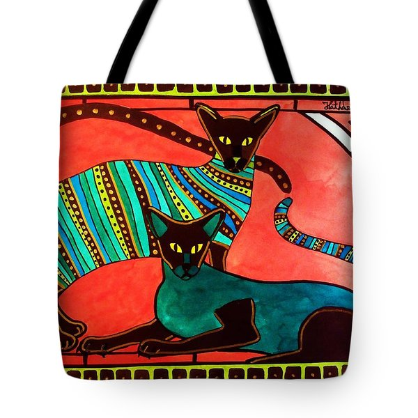 Legend Of The Siamese - Cat Art By Dora Hathazi Mendes Tote Bag by Dora Hathazi Mendes