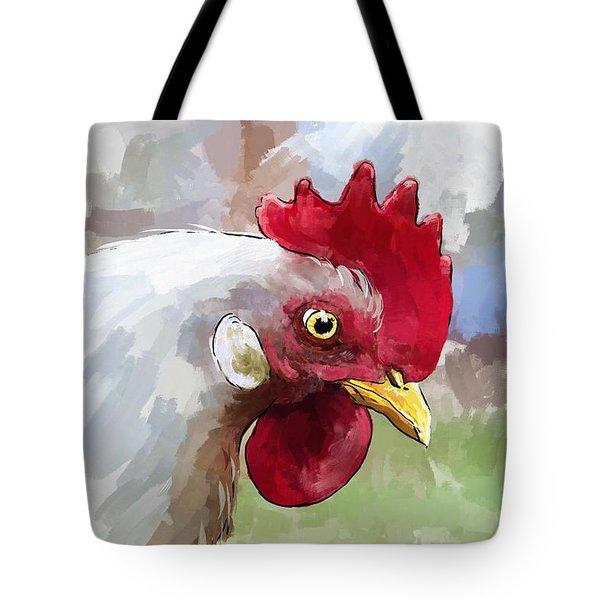 Leghorn Hen Tote Bag by Debra Baldwin