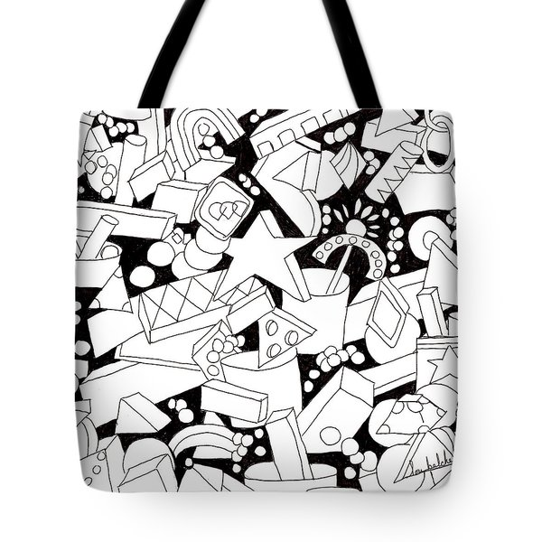 Tote Bag featuring the drawing Lego-esque by Lou Belcher