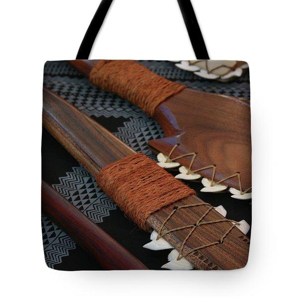 Lei O Mano Hawaiian Koa Shark Teeth Dagger And War Clubs Tote Bag by Sharon Mau