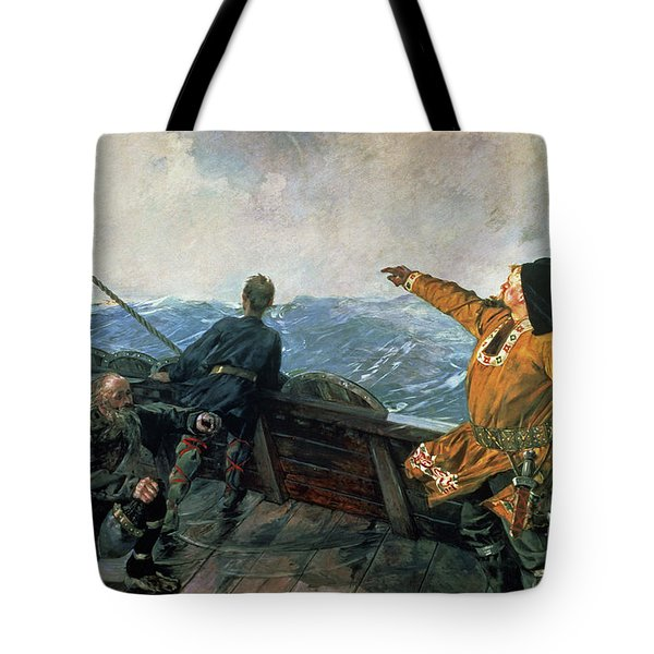 Leif Eriksson Sights Land In America Tote Bag
