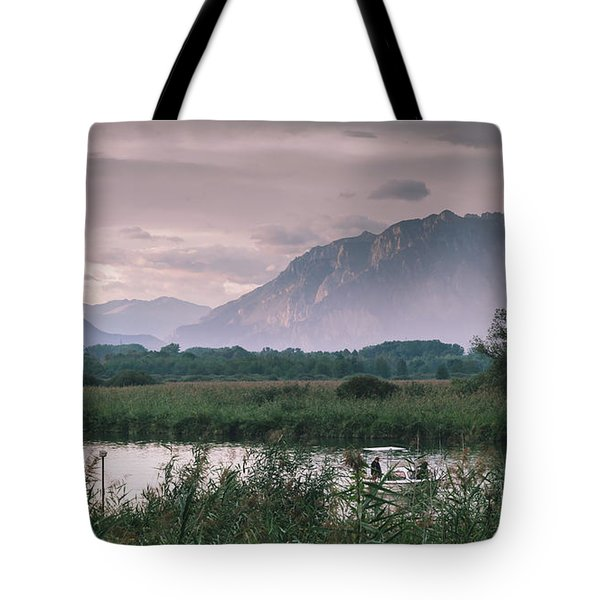 Leisure Boat On River Adda In Northern Italy, Close To Lake Como - Reflection Of Italian Alps Tote Bag