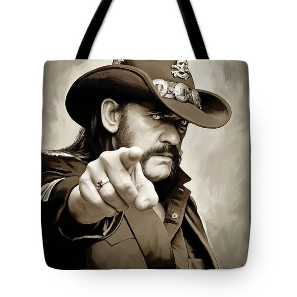 Tote Bag featuring the painting Lemmy Kilmister Motorhead Artwork 1 by Sheraz A