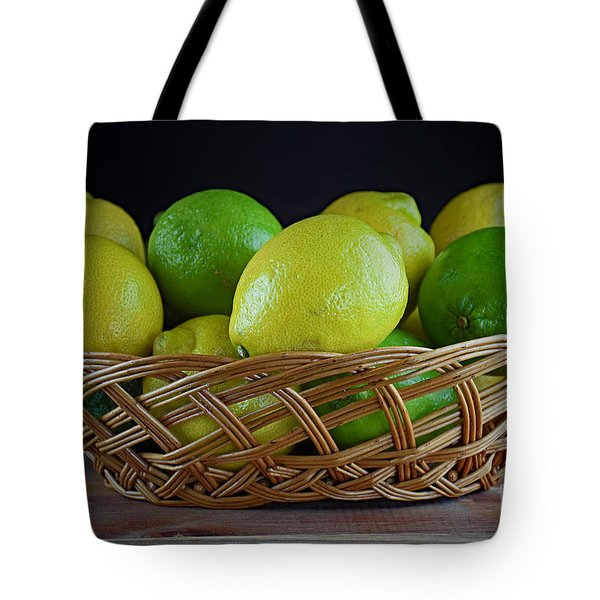 Lemon And Lime Basket Tote Bag