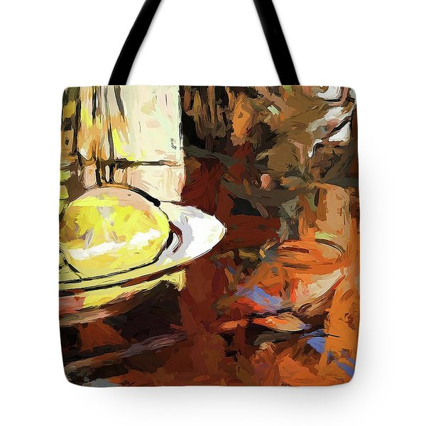 Lemon Bowl Wine Glass Fork Tote Bag