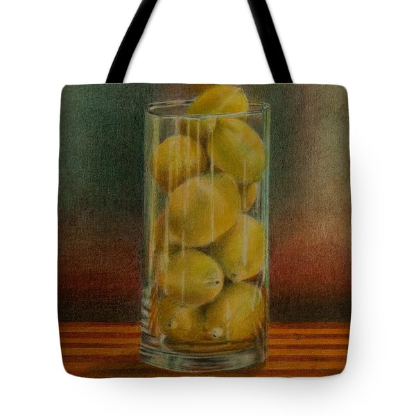 Tote Bag featuring the drawing Lemon Stack by Lynn Hughes