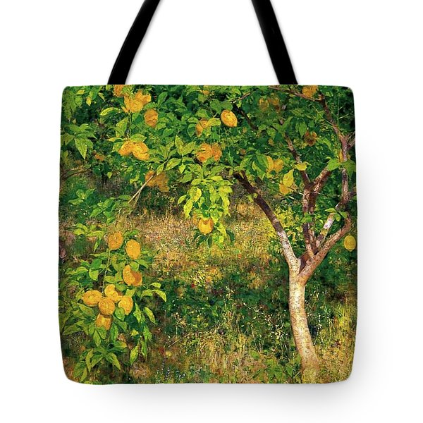 Tote Bag featuring the painting Lemon Tree by Henry Scott Tuke