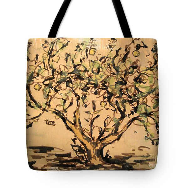 Tote Bag featuring the painting Lemon Tree by Maria Langgle