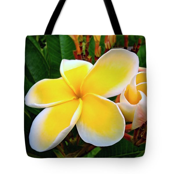 Lemon Yellow Plumeria Tote Bag