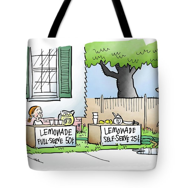 Tote Bag featuring the digital art Lemonade Stand by Mark Armstrong