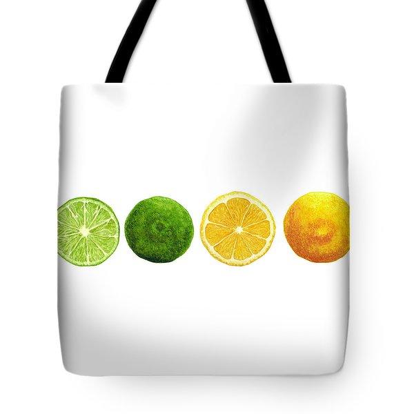 Lemons And Limes Tote Bag by Kathleen Skinner