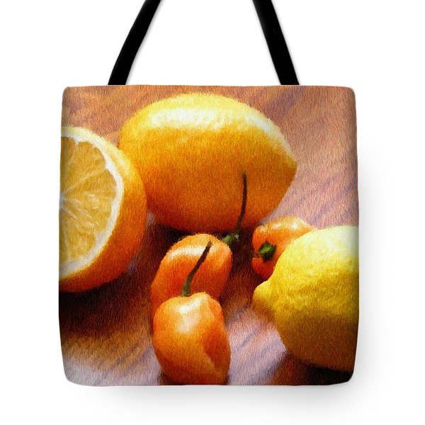 Lemons And Peppers Tote Bag by Jeff Kolker