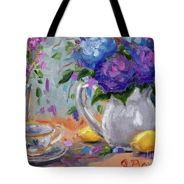 Tote Bag featuring the painting Lemons And Purple  by Jennifer Beaudet