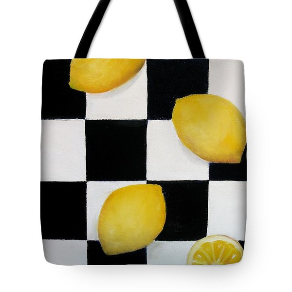 Tote Bag featuring the painting Lemons by Carol Sweetwood