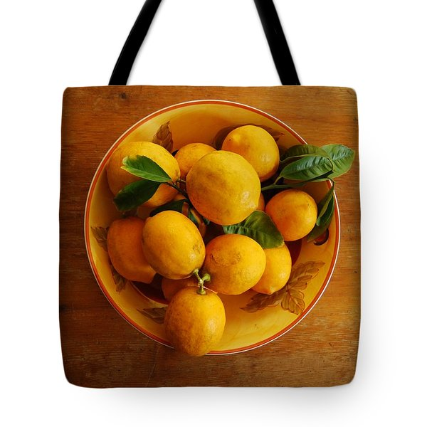 Lemons In Bowl Tote Bag by Jocelyn Friis