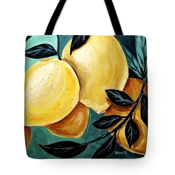 Tote Bag featuring the painting Lemons by Maria Langgle