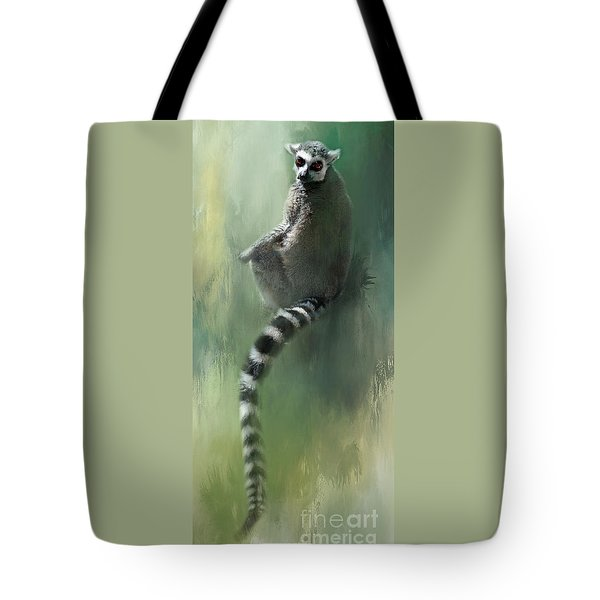 Lemur Catching Rays Tote Bag by Kathy Russell